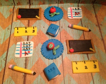 Back To School Cupcake Toppers (12 Count)