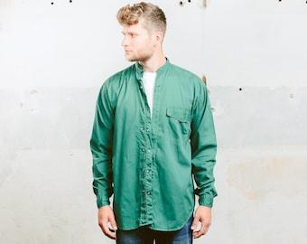 Green Collarless Shirt . Vintage Men's 80s Work Shirt Oversized Shirt Band Collar Minimalist Dress Shirt Peasant Shirt . size Medium