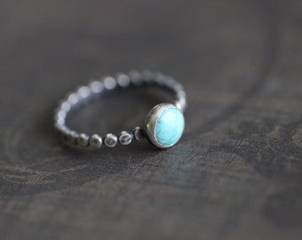 Dotted:  Kingman Turquoise Ring, Hammered Beaded Band, Sterling Silver Beaded Ring, 6mm Bezel Set Turquoise, MADE TO ORDER