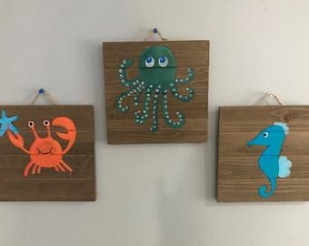 """Sea Creature Bedroom Decor - crab octopus sea horse- ocean - under the sea Wooden Signs 10"""" x 10"""""""