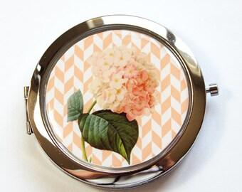 Flower compact mirror,  Flower Mirror, mirror, floral, Floral mirror, Pocket mirror, Flower pocket mirror, Peach (2942)