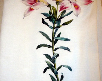 Flour Sack Kitchen Towel, Tea Towel, Lily Flower