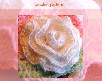 SALE on ROSE Flower Crochet Pattern - Easy Crochet Pattern for Single Rose - use for Hair, Scarf, Pin