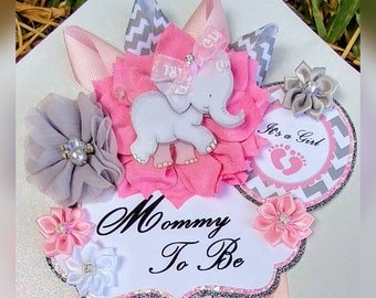 Baby Girl Pink Gray Elephant Themed Mommy To Be Baby Shower Corsage or Badge