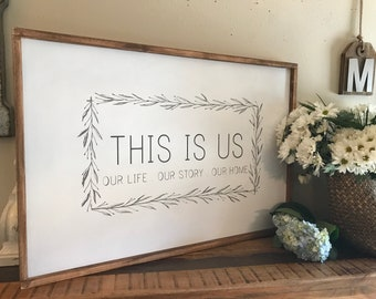 This is us - our life, our story, our home  wood sign