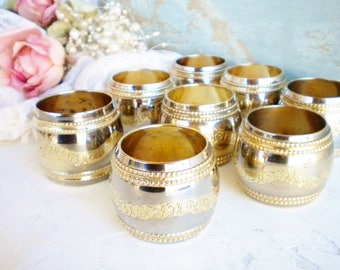 Vintage Silverplate Napkin Holders Set Of 8 Napkin Rings Metal With Rose Design Rose Gold
