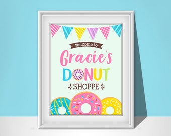 Donut Party Sign | Donut Birthday Welcome Sign | Printable 8x10 or 16x20 Sign | Personalized Donut Birthday Sign | BR005W