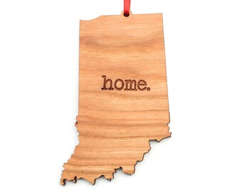 Indiana home. Christmas Ornament - IN Indiana State Ornament - Home Christmas Ornament