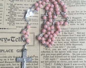 Vintage Rosary, Pink Rosary, Religious Cross Crucifix, Prayer Necklace, Catholic Rosaries, Catholic Rosary, Vintage Rosaries