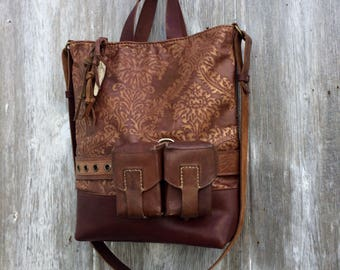 Damask Leather Bag in Royal Mahogany Brown with Vintage Ammo Pouches by Stacy Leigh