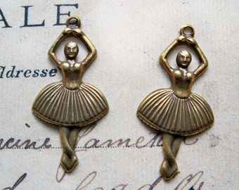 FOUR ballerina brass charms, brass stampings, brass ox, supplies made in the usa, pendants, findings, jewelry making