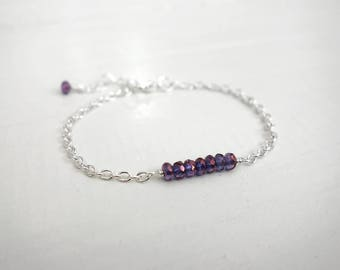 Dainty chain bracelet purple beads bracelet row of beads bracelet sparkly beads bracelet for women