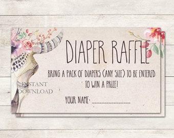 Diaper Raffle Ticket, Baby Shower Diaper Raffle, Baby Shower Game, Tribal Boho Baby Shower, Boho Floral Baby Shower, Printable No. 1028