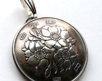 Cherry Blossom Coin Pendant Flower Yen Vintage Necklace Japanese Jewelry Unique Charm Finding Bead Foreign World