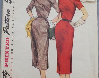 Vintage c.late 40s-early 50s Simplicity 1240 Sz 14 (32/26/35) Dress Pattern