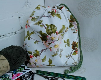Floral knitting bag, Knitting project bag, Yarn storage bag, Medium drawstring knitting bag, Craft Bag, Sock progect bag, Knitters gift bag