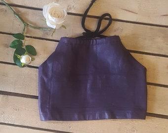 Leather Purple Halter Top