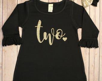 Two Birthday Dress, 2nd Birthday Dress, Girls 2nd Birthday, Sparkle Birthday Dress, Second Birthday shirt, 2nd Birthday Shirt,