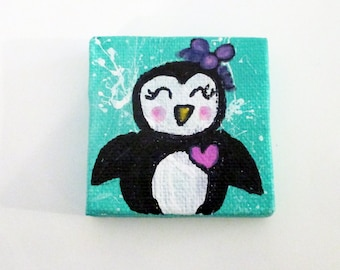 Penguin mini canvas art - original painting, nursery wall art, children's room decor,Cute, Kawaii, animal lovers gift