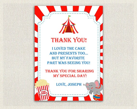 Carnival circus theme thank you card printable download like this item bookmarktalkfo Image collections