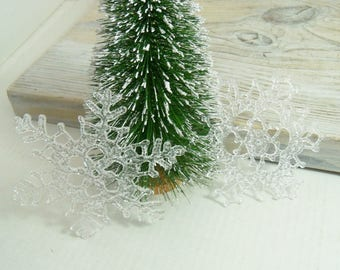 Plastic Lucite Snowflakes - Vintage Christmas Tree Snowflake Ornaments, circa 1960s - Made in Hong Kong - 2Pieces