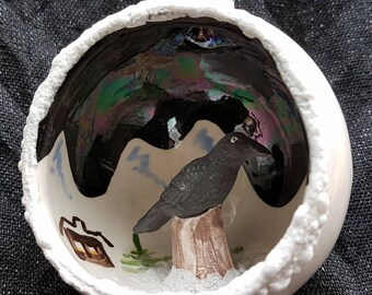 Northern Yukon Raven ceramic ornament