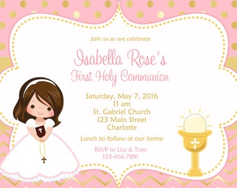 First Communion Invitation Holy Communion Invitation Holy Communion Chalice - Choose  Girl