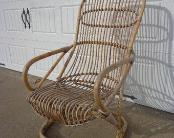 Vintage Modern Bamboo Rocking Chair Franco Albini Eames Armchair MidCentury Bentwood Rocker Nursery Rattan Furniture Accent Danish Seating