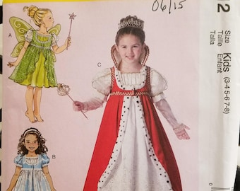 McCall's Costumes 7212 gown, fairy, queen, princess - new uncut size 3-8, 2015