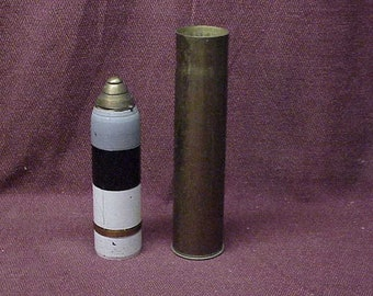 Original WWI 1907 75mm Scovill Aerial Artillery SHELL Bomb w Nose Timer, INERT