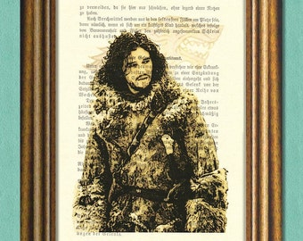 You Know Nothing, JON SNOW!  Game of Thrones Fan Art -  Dictionary Art Print - Quotes- Recycled Book Page Print -