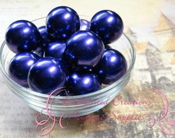 24mm Purple Acrylic Pearl Beads Qty 6