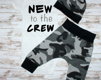 NEW to the CREW Camo Infant Outfit- Newborn Boy Gift- Baby Shower Gift-Baby Camo