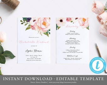 Bachelorette Weekend Invitation and Itinerary Card | Instant Download, Editable, Printable | Simple Calligraphy, Floral Boho | DC061