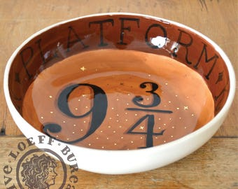 Loeff Low Bowl 9 3/4 - Handmade and painted Pottery 9.4 inch diameter - large harry potter inspired platform 9 3/4 king's cross station