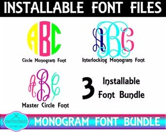 Installable Font Bundle, TTF Files Silhouette Cameo and Cricut Files
