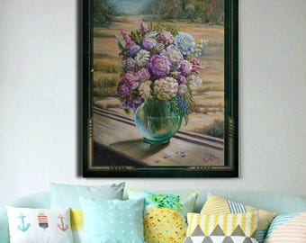 Fall decor Art commissioned painting Flowers in vase Custom painting from photo Custom art from photo Impressionist oil painting commission