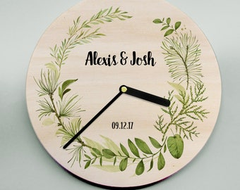 Modern wooden clock - personalized wall clock featuring leaf wreath. Modern, personalized gift for weddings, engagements or any occasion!