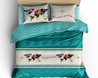 Map bedding etsy more colors watercolor world map gumiabroncs Choice Image