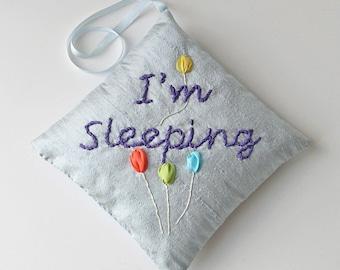 I'm Sleeping door hanger, silk ribbon embroidery, baby shower gift, silk door hanger, embroidered door hanger