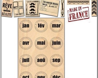 """Large rubber stamp wood """"Month bubbles"""" Design """"made in France"""" Miscellany scrapbooking card making *."""