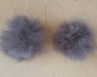 2 tassels made of real fur grey 5 cm