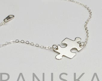 TYRA Sterling Silver Puzzle Piece Jigsaw Bracelet, Puzzle Piece Charm Layering Bracelet, Dainty Bracelet, Delicate Bracelet, Gift for Her