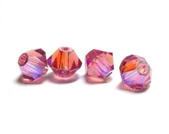PADPARADSCHA AB 8mm Bicone Swarovski Crystals, 17 pcs, Aurora Borealis, Style 5301