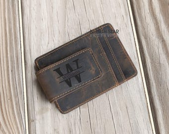 Cowhide Leather Money Clip,Personalized Leather Money Clip Wallet,Leather Money Clip,Personalized Money Clip,Credit Card Wallet,Personalized