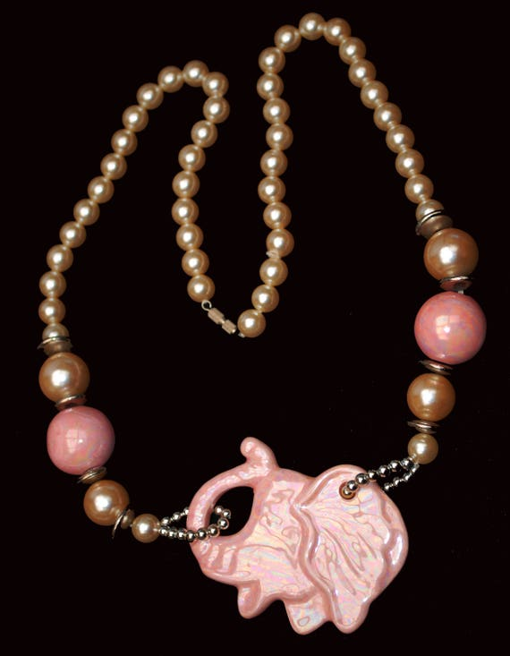 Pink Elephant Pearl Necklace - Ceramic beads - white pearls silver - funky necklace