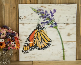 Monarch Butterfly photo transferred onto reclaimed wood - 0030