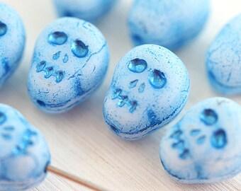Blue Skull beads Blue Czech glass beads Halloween decor Skeleton Sugar Skull - 12mm - 8Pc - 2630