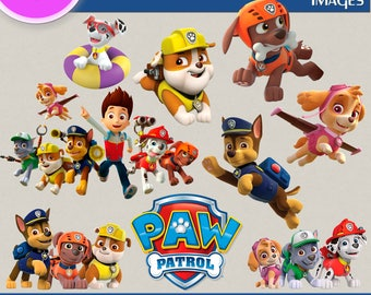 PAW PATROL CLIPART, Digital Cliparts, Stickers, Decals, Transparent Backgrounds, digital print