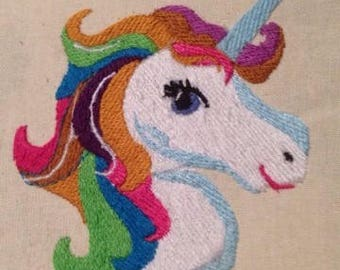 colourful unicorn head machine embroidery design, magical, 2 sizes, 4x4, 5x7, 8 formats, dst, exp, hus, vip, vp3, pes, jef, xxx
